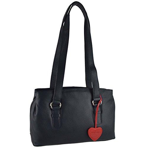 Morado Leather Mujer Mala Azul Rojo Para Bolso Marino Hombro Al p0dqqwAxv