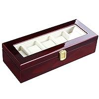 SONGMICS Caja de reloj Organizador de madera 5 ranuras Vitrina duradera Cherry UJOW05C