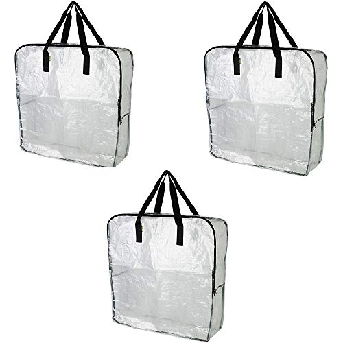 Pack of 3 - Extra Large Clear Storage Bag for Clothing Storage, Under the Bed Storage, Garage Storage, Recycling Bags (Plastic Bedding Storage Bags)
