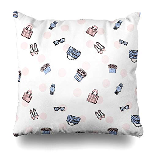 Ahawoso Throw Pillow Cover Attractive Trend Colored Glamour Flat Shoes Clutch Leather Handbag Wrist Watch Vintage Glasses Design Zippered Pillowcase Square Size 20 x 20 Inches Home Decor Pillow - Handbag Polka Dot Quilted