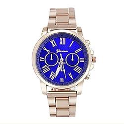 Han Shi Wristwatch, Unisex Roman Number Stainless Steel Quartz Sports Dial Watch Clock (A, Blue)