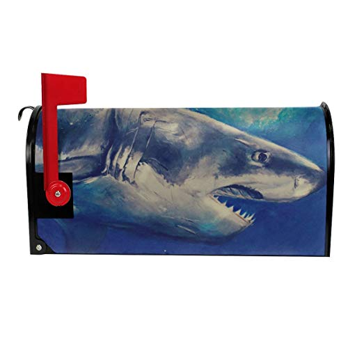 Candy Ran Mail Cover Great White Shark Magnetic Mailbox Cover Letter Post Box Decoration Welcome Home 21x18 in (Collection Sharkskin)