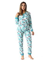 #followme Juego de Ropa Interior térmica con Pantalones Cortos para Mujer con Estampado de Henley