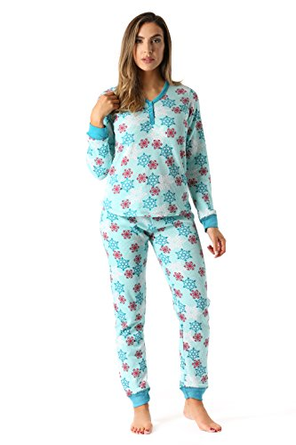 Printed Thermal Henley - #followme 6373-10167-AQU-XXL Women's Printed Henley Thermal Underwear Set With Jogger Pant