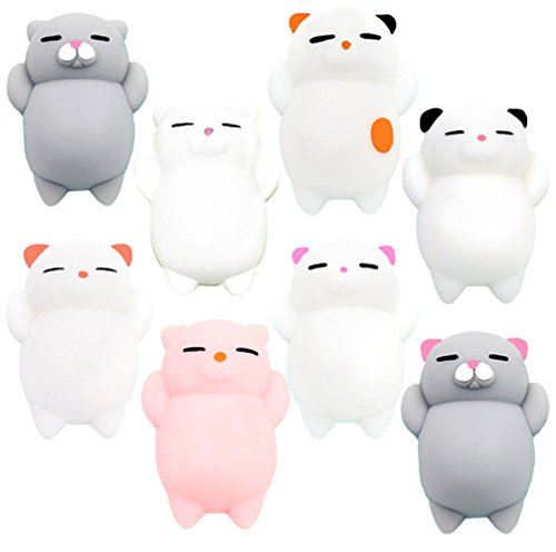 Squishies YESONE 8 Pcs Kawaii Squishy Toys Kawaii Squishy Cats Stress Reduce Mochi Squishy Animals