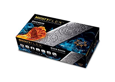 "MightyFlex XX-LARGE Black Nitrile Examination Gloves, Powder Free, 9.5"" Length, 5.5 mils, Full Textured"