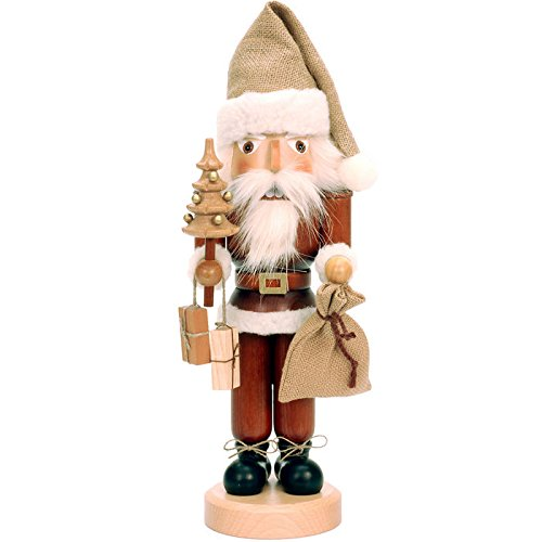 Alexander Taron Importer 32-333 This Ulbricht/Seiffener Santa Nutcracker Is Holding a Christmas Tree an d a Sack Of Presents an d Is in  Natural Wood Finish. by Alexander Taron Importer