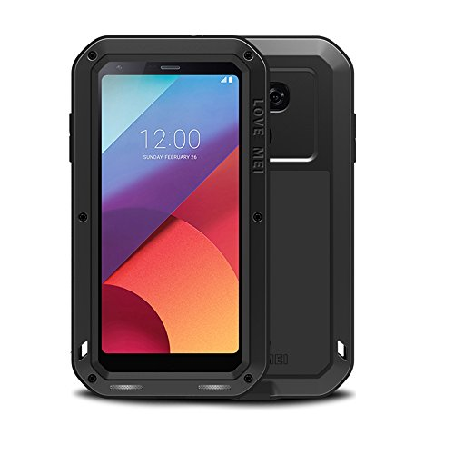 LG G6 case,Feitenn Extreme Hybrid Armor case Alloy Aluminum Metal Bumper Gorilla Glass Soft Rubber Military Heavy Duty Shockproof Hard Water resistant Case For LG G6 (Black)