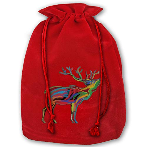 TPSXXY Elk Colorful Clipart Large Christmas Drawstring Bag Santa Present Bag Basket Gifts Sack (Clipart Christmas Basket)