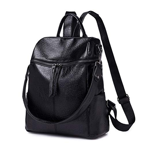 HaloVa Women's Backpack, Fashion Shoulder Bag, Vintage Leather Handbag, Black (Leather Black Handbags Backpack)