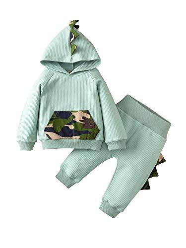 Whitzard Kledingset voor baby's, schattige warme zuigelingen, jongens en meisjes, tweedelige katoenen speler, dinosaurus…