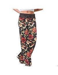 EISHOW Fashion Womens Wide Leggings Loose Soft Pants Pajama Floral Print Comfy Casual Stretch Drawstring Yoga Bottoms