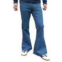 Mens Denim Bell Bottom Flares Vintage Retro Jeans Pants Stonewash Blue