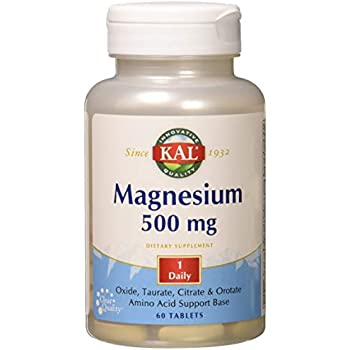 KAL Magnesium 500mg One Daily | Amino Acid Support Base | Healthy Heart, Muscle, Nerve Function & Brain Circulation Support | 60 Tablets