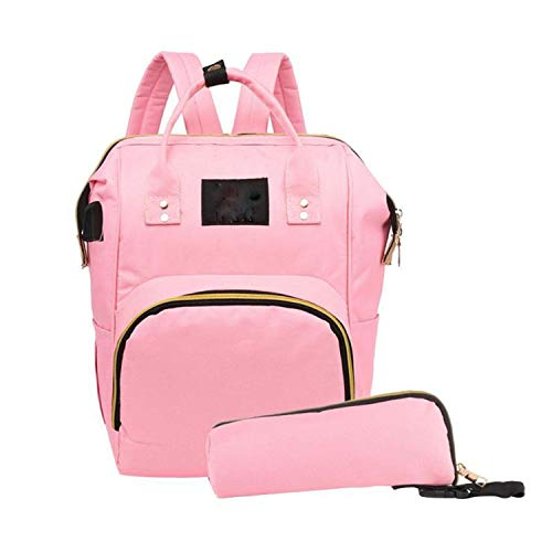 (2pcs/Set Fashion Mummy Maternity Large Capacity Travel Backpack Diaper Bag,Light Pink)