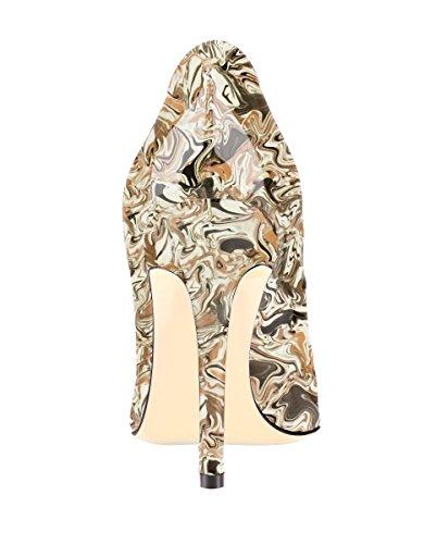 SexyPrey Women's Patent Leather Multi-color Stiletto Heels Pointed Toe Plus Size Court Shoes B-Colorful 6KHGfmT