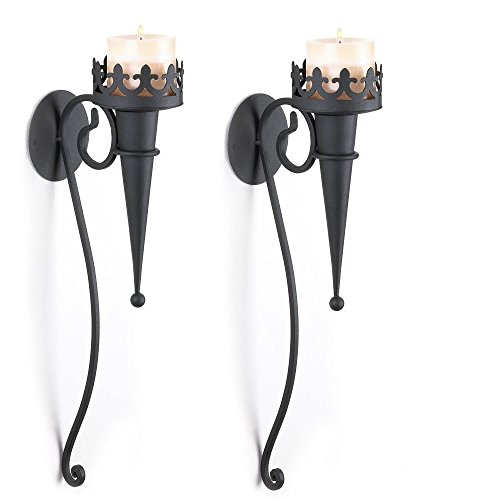 SLC 39877 Gothic Candle Sconce 2 Medieval Torch Style Pillar Holder Wall, 4