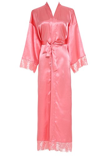 4c56cd8096 Owiter Women s Kimono Robe Long Lace Trim Bridesmaid Robes Bridal Robe