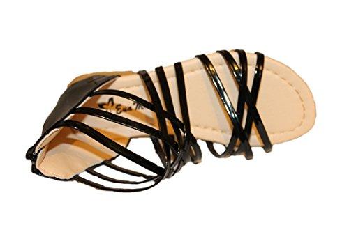 eva mode-spartiates sandales-noire brillante-fille (31)