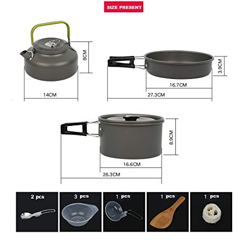 Gopamhu Camping Cookware 10/&13/&21 Piece Sets BPA Free with Mesh Set Bag Anodized Aluminum Complete Lightweight Folding Kit for Camping Hiking Backpacking Outdoor Cooking Gompamhu