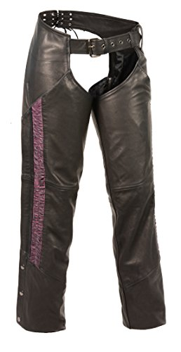 Price comparison product image Shaf Leather Womens Chaps Ladies Lightweight Low Rise Chap W / Purple Crinkled Leg Striping - 2Xl - Purple
