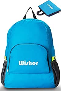Lightweight Foldable Backpack, Water Resistant Nylon Cloth, 20L, fits Men & Women - Blue