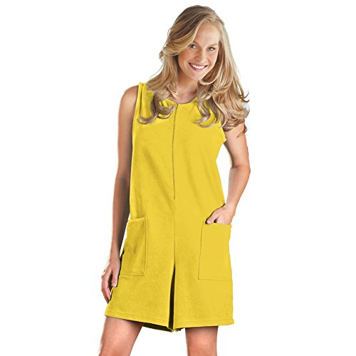 Women's Pocket Front Terry Zip Romper Misses Yellow X-Large, Yellow, Plus-Size, Machine Washable