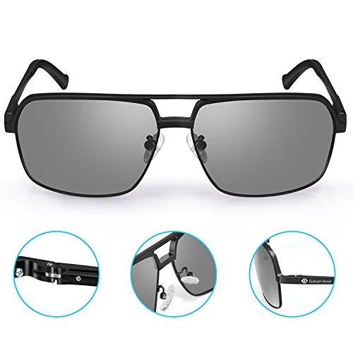 Goliath Ronin Classic Square Vintage Driving Aviator Sunglasses for mens, Polarized Lens Eyewear, 100% UV400 - Sunglasses Vintage Square Aviator