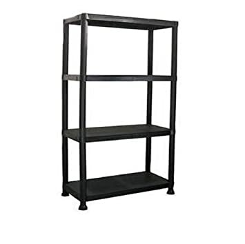 Groovy High Quality New 4 Tier Black Plastic Garage Storage Shelving Shelves Storage Unit Shed Shelf Interior Design Ideas Lukepblogthenellocom