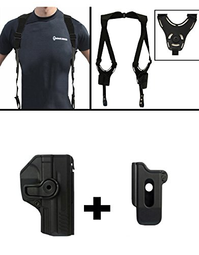 IMI Defense ZSP08 Single Mag Pouch + Z1385 360 Rotate Holster H&K HK Heckler & Koch VP9 / SFP9 9mm, Black + Ultimate Arms Gear Tactical Shoulder Holster Rig Harness System