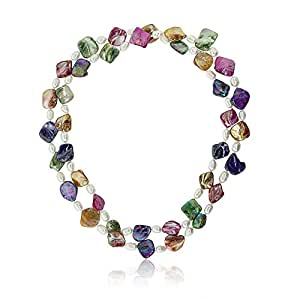 """46"""" MultiColor Cultured Freshwater Pearl & Simulated Shell Pearls Necklace"""