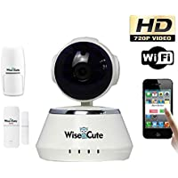 Wise&Cute WSC001 Home Security Camera System Baby Monitor Pan Tilt Wireless IP Indoor HD 720P Pet Cam PIR Detector and 2 Door Sensor Included Alarm Function Infra Red Night Vision