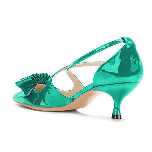 Ydn Vrouwen Prom Lage Hak Pompen Dorsay Kitten Sandalen Met Enkelbandje Kleding Boog Schoenen Turquoise