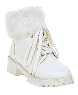 Retro Boots, Granny Boots, 70s Boots CHFSO Womens Stylish Waterproof Faux Fur Lined Lace Up Mid Heel Platform Ankle Winter Snow Boots $32.99 AT vintagedancer.com