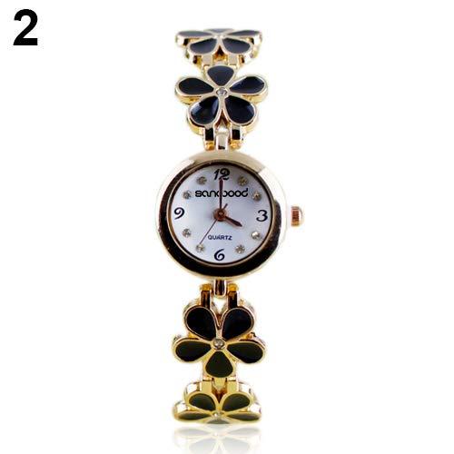 FAgdsyigao Wrist Watch,Women Girl Fashion Daisy Flower Bracelet Wrist Watch Analog Quartz Movement Black