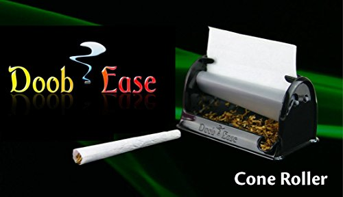 Premium Cigarette Doobie Roller by Doob Ease Rolling Machine for Perfect Sized Rolls Every Time with Shake Catcher (Cone Roller, Black)