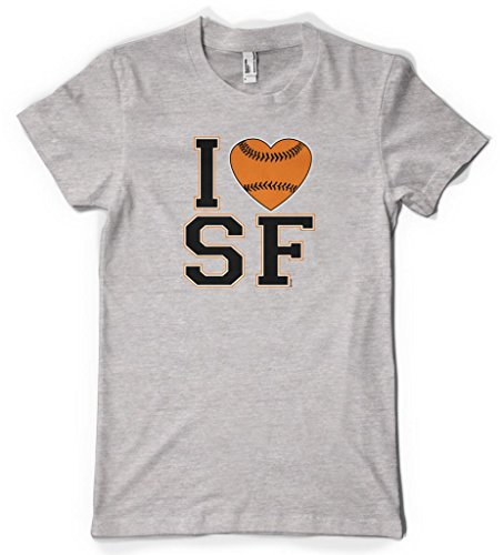 Cybertela I Love San Francisco Baseball Heart Women's T-shirt (Light Gray, - Love San Francisco Bridge