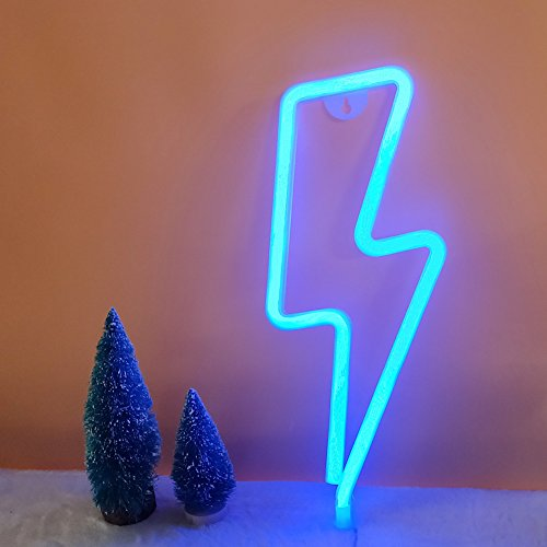 Lighting Bolt (LED Lightning Shape Neon Sign Light Art Decorative Lights Wall Decor for Baby Room Christmas Wedding Party Supplies (Blue))