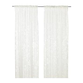 IKEA BORGHILD   Sheer Curtains, 1 Pair, White   145x300 Cm