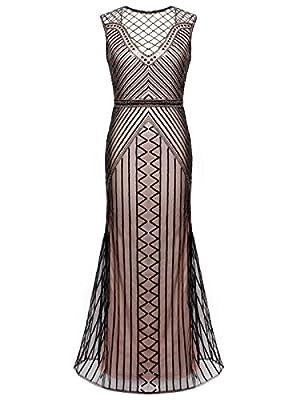 FAIRY COUPLE 20s Long Flapper Gatsby Dress Beading Prom Evening Dress D20S019