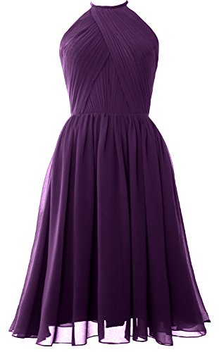 Women Open Halter Chiffon Gown Dress with Cocktail Eggplant Back MACloth Bridesmaid Short dUxWndp