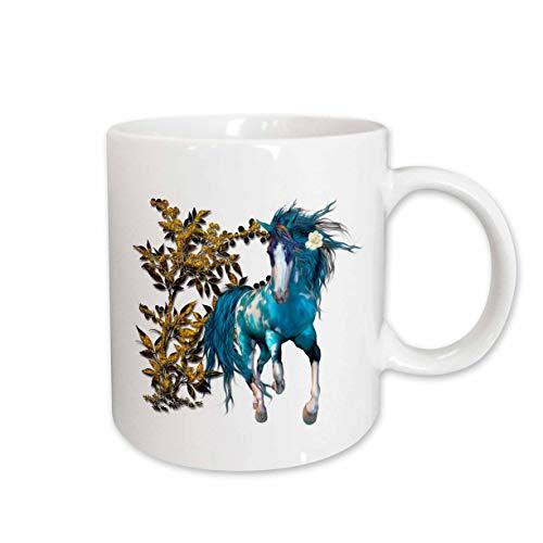 (3dRose SpiritualAwakenings Unicorns - beautiful blue unicorn and golden floral accented follage - 15oz Mug (mug_317035_2) )