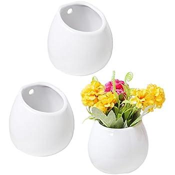 Amazon Chive Unique Round Ceramic Flower Vase 6 Wall Mounted