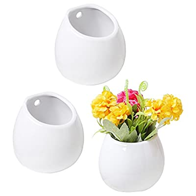 Set of 3 Mini White Ceramic Wall Mountable Plant Vase, 4 Inch Hanging Succulent Pots - Set of 3 white ceramic wall-mountable or freestanding mini vases. Flat bottom and back allow planters to be mounted against a wall or set on a table or flat surface. Hollow interior allows you to fill this vase with your favorite dried or silk flowers or other decorative items. - vases, kitchen-dining-room-decor, kitchen-dining-room - 41asRiq9eiL. SS400  -
