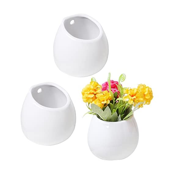 Set of 3 Mini White Ceramic Wall Mountable Plant Vase, 4 Inch Hanging Succulent Pots - Set of 3 white ceramic wall-mountable or freestanding mini vases. Flat bottom and back allow planters to be mounted against a wall or set on a table or flat surface. Hollow interior allows you to fill this vase with your favorite dried or silk flowers or other decorative items. - vases, kitchen-dining-room-decor, kitchen-dining-room - 41asRiq9eiL. SS570  -