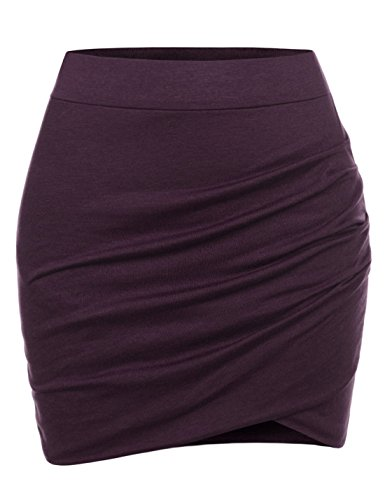 NEARKIN (NKNKSSK64) Womens Stretchy Waistband Shirring Fitted Mini Skirt DARKWINE US L(Tag size XL)