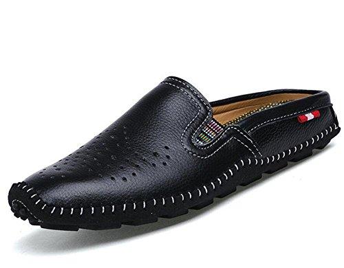 GLTER Hombres Sandalias transpirables Zapatos Casual Zapatillas Zapatos 2017 Verano Nueva Zapatillas De Playa De Cuero Black