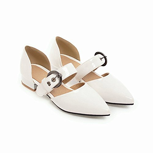 Mee Shoes Women's Chic Low Heel Buckle Court Shoes White FQalParqGs