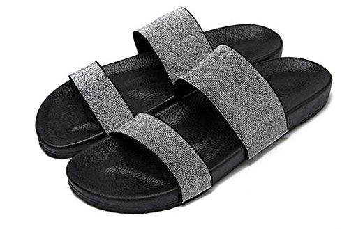 Aisun Mens Casual Komfort Öppen Tå Elastiska Platta Två Bandglid Sandaler Tofflor Strand Sandiga Skor Grå