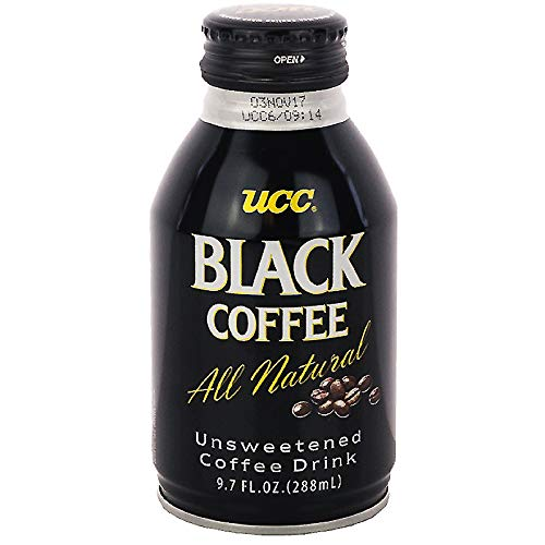 UCC Black Coffee, All Natural, Zero Sugar, Zero Calories - 9.73 Fl Oz | Pack of 24